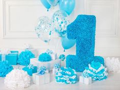 Birthday Party Backdrops Balloons Backdrop Blue Background HJ04921