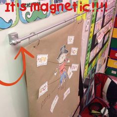 Display anchor charts on your dry erase board using a magnetic curtain rod... simple and portable.