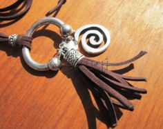 Women dark brown leather bohemian necklace jewelry with silver plated spiral and tassel