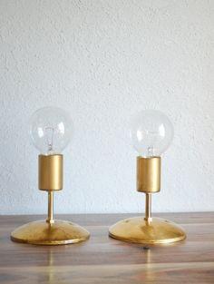 Gold Brass Industrial modern wall sconce light.  Globe light bulb. Bathroom, bedroom, hallway lighting.