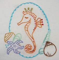 Seashells & Seahorses Embroidery Patterns $3.00
