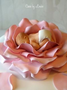Baby And Rose Christening Cake