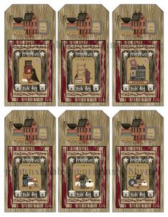5 Digital Collage Sheets Printable Tags PRIMITIVE FOLK ART Wood Look Tag Shapes (No. 1)