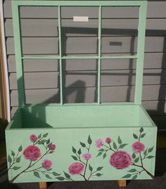 Flower Box made and painted by talented Habitat for Humanity Volunteers with donated windows.  Americus, GA, Restore