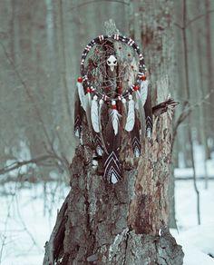 Large Tribal Dark Whisper Dreamcatcher by DreamOfABird on Etsy