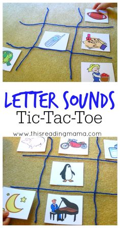 (Phonological Awareness) Letter Sounds Tic Tac Toe ~ a playful way to get kids to listen for beginning letter sounds in words Letter Sound Activities, Speech Therapy Activities, Alphabet Activities, Literacy Activities, Literacy Centers, Letter Sound Games, Literacy Stations, Emergent Literacy, Kindergarten Literacy