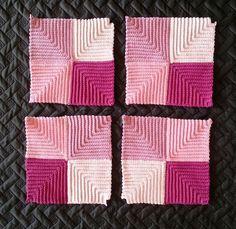 Nu de 4 grydelapper hæklet Crochet Potholders, Knit Crochet, Pot Holders, Quilts, Blanket, Knitting, Pattern, Crafts, Diy