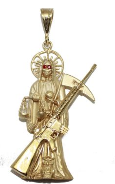 Santa Muerte with Riffle Gold Plated Pendant with CZ - Holy Death , Grim Reaper Pendant 18k Gold Plated with 24 inch Chain