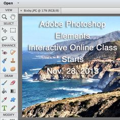 New Online Class starting Nov. 28 in Beginning Photoshop Elements - the graphics program you will use every day to enhance your business and creative life.