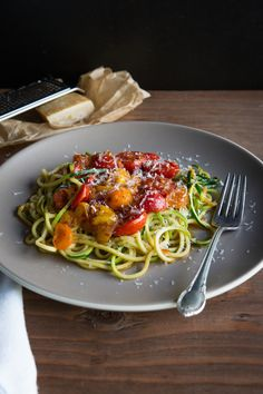 Zucchini Noodles with Blistered Tomatoes
