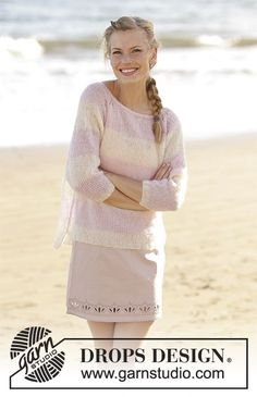 Strawberry Vanilla - Jumper with raglan and stripes, worked top down in DROPS Brushed Alpaca Silk. Size: S - XXXL Free knitted pattern DROPS 178-57