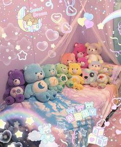 Indie Room Decor, Cute Room Decor, Kawaii Bedroom, Pastel Room, Cute Room Ideas, Cute Stuffed Animals, Gamer Room, Dream Baby, Cute Plush