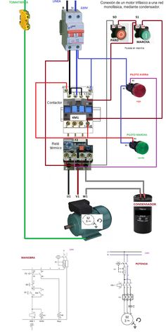 contactor wiring guide for 3 phase motor with circuit breaker rh pinterest com 3 phase contactor wiring diagram start stop 3 phase contactor circuit diagram