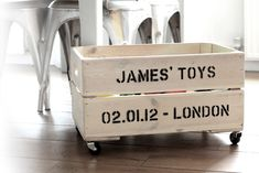 personalised toy box, tool box, garden supplies...omgosh..could be used for anything :) so if you have extra wood lying around, piece of wood for base, castor wheels to attach on and viola :)..oh, the stencil design as well, go crazy :)