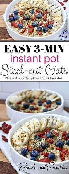 Perfect Instant Pot Steel-Cut Oats - EASY 3 minute delicious breakfast using the Instant Pot. No watching the stove, either! Gluten