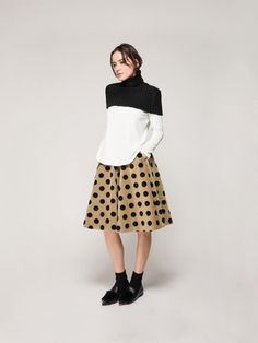 Sweater Coverlet + Top + Full Skirt // Front Row Shop High Neck Collar +  Front Row Shop Long Sleeved Top with Asymmetrical Back + Front Row Shop Spot Mini Skater Skirt