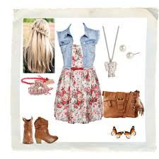 jean jaket with floral skirt brown purse and brown boots