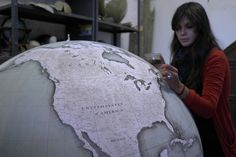 globes & globes ... our Churchill globe being painted