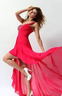 Red One Shoulder High-low Homecoming Dress