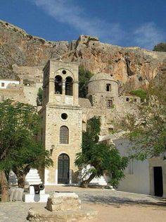 Monemvasia, main square with the Church of Christos Elkomenos, Peloponnese, Greece