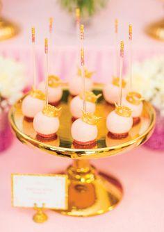 Royal Princess 1st Birthday Party Dessert Table {Pink & Gold}
