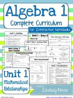 {Unit 1 - Mathematical Relationships} This is the first of 11 units. I created this resource after seeing a need for some guidance and consistency with the Algebra 1 Common Core standards. This resource includes everything you need for 11 days of instruction. You just need to provide the instruction!
