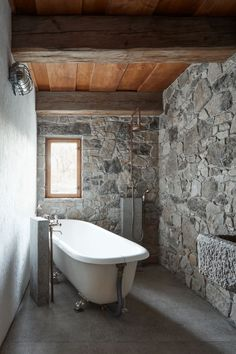 Czech architect Lenka Míková has reconverted a wooden cottage and a stone barn, enhancing their innate imperfection. Architecture Design, Farmhouse Architecture, Stone Cottages, Stone Houses, Stone Barns, Bathroom Renovations, Home Remodeling, House Renovations, Cottage Shutters
