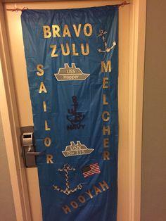 "Navy Pride Door ""poster"" Navy Boot Camp Graduation, Navy Eod, Military Party, Navy Party, Navy Ribbon, Navy Chief, Navy Boots, Navy Girl, Navy Anchor"