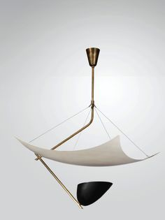 Angelo Lelli, a brass and  lacquered metal ceiling light, executed by Arredoluce. 1954
