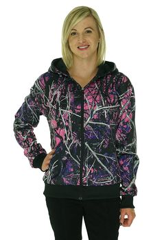2779008dec3 Muddy Girl Zipper Hoodie (M)  This Muddy Girl Moon Shine Camo hoodie  sweater will look great for any occasion