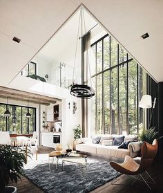 great room with floor to ceiling windows, modern rustic house in the forest, mod… Tolles Zimmer mit raumhohen Fenstern, modernes rustikales Haus im Wald, modernes Wohnzimmer Interior Design Inspiration, Home Interior Design, Interior Architecture, Design Ideas, Modern Rustic Interiors, Contemporary Interior, Contemporary Architecture, Luxury Interior, Rustic Modern Living Room