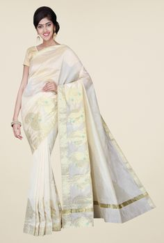 Pavecha's Off White Banarasi Cotton Silk Solid Saree
