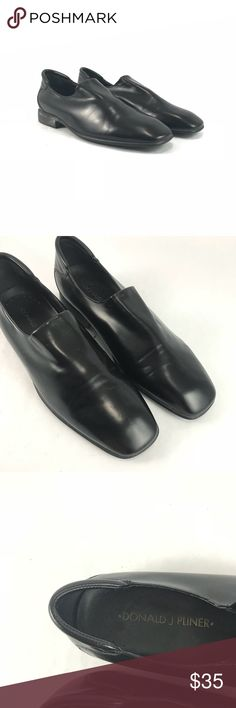 Donald pliner men's black slip on shoes Pre-owned Donald pliner men's black slip on shoes.  See pictures for condition.  Small rip to right who tounge.  No written size but measure and fit sz 9.5 Donald J. Pliner Shoes Loafers & Slip-Ons