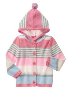 Multi-Striped Hooded Cardigan