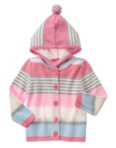 Multi-Striped Hooded Cardigan