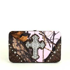 NEW MOSSY OAK BROWN PINK CAMO WESTERN BLING RHINESTONE CROSS LADIES FLAT WALLET in Clothing, Shoes & Accessories, Women's Accessories, Wallets | eBay