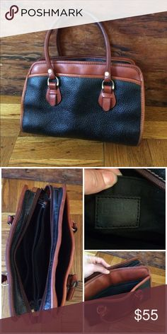 """Vintage Leather Handbag Doctor / bowling ball sachel style purse. Real cognac brown and pebbled black. Awesome condition just cleaned and conditioned the leather. Multiple pockets and two zipper checkbook pockets. Handles are 6"""" high, bag is 11"""" long, 8"""" tall and 5"""" deep. Vintage Bags"""