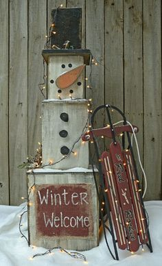 Stackable Snowman.  (SLED AND LIGHTS NOT INCLUDED)  $40  Shipping is availalbe and we now accept PayPal.  www.BlueBarnWoodCrafters.weebly.com or www.Facebook.com/BlueBarnWoodCrafters