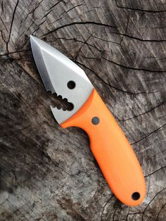 Jason Knight Knives - Shuckin' Shark Oyster Shucker -- Stainless Steel with Orange G-10 Handle    Just in time for Shark Week. --- via Blade Magazine