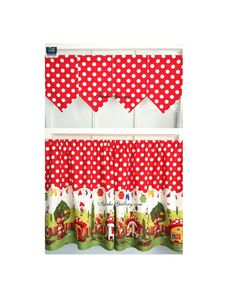 Gnomes Red Polka Dot Tier Set 54 wide Matching Banner Valance Set by Idaho Gallery