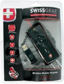 Swissgear Wireless Mobile Laser Presenter by Swiss Gear. $25.00. A wireless presenter with an ergonomic gripProduct InformationThe Wenger SwissGear Wireless Mobile Presenter features ergonomic side gripsstorable mini USB receiver and a 100-foot connectivity range.  Weighing inat a little over two ounces the wireless mobile presenter is ideal for takingwith you while you travel.  Product Features  Laser Pointer  Slide Forward / Backward  Play / Pause  Escape Presentation  Blac...