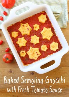 traditional baked semolina gnocchi star shaped on a sky of fresh red ...