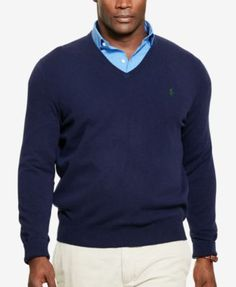 POLO RALPH LAUREN Polo Ralph Lauren Men'S Big &Amp; Tall Merino Wool V-Neck Sweater. #poloralphlauren #cloth # sweaters