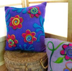 Items similar to Purple flower cushion recycled renewable resource on Etsy Pillow Crafts, Felt Crafts Diy, Felt Diy, Diy Pillows, Fabric Crafts, Throw Pillows, Felt Flower Pillow, Felt Pillow, Felt Cushion