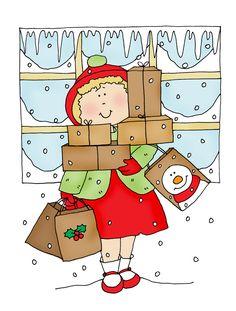 Free Dearie Dolls Digi Stamps: Christmas Shopping Girl