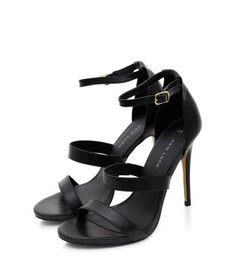 Why setttle for two straps when you can have three in these Black Leather Triple Strap Heels. #newlook #shoes
