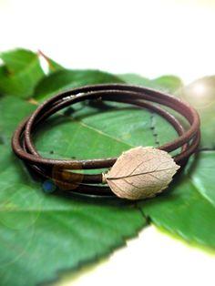 rose leaf, leather wrap bracelet