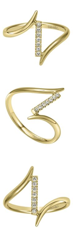 The more the better! Add as many midi rings on your hands as you would like. This stunning 14k Yellow Gold Knuckle Ring by Gabriel & Co. is a must have if your a big ring person. The little diamonds on this cute ring adds so much beauty!