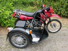 Red KLR650 with enduro/adventure tubular frame sidecar