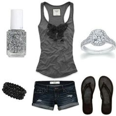 Outfit verano en negro y plateado.